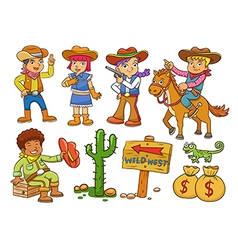 Cowboy Wild West child cartoon vector