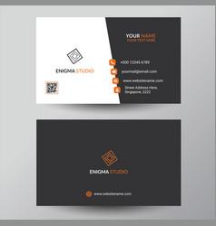 Creative black orange business card design vector