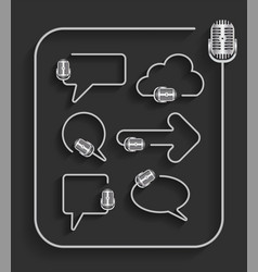 creative microphone in shape of speech bubbles vector image