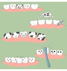 Cute cartoon tooth expression set vector