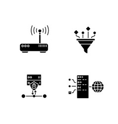 cybersecurity black glyph icons set on white space vector image