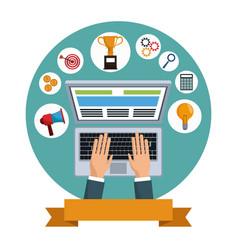 digital marketing laptop social media vector image