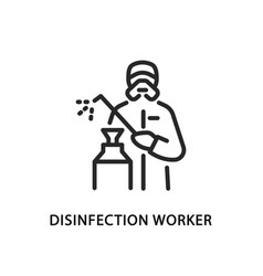Disinfection worker flat line icon vector