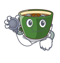 Doctor indian masala tea in cartoon glas vector