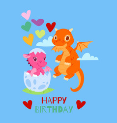 dragons happy birthday card banner vector image