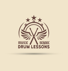 drum school emblem with wings drumsticks vector image