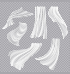 Flying curtains white blank clothes transparent vector