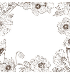 Garden tender roses and anemone frame vintage vector