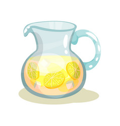 glass jar of refreshing beverage with slices of vector image