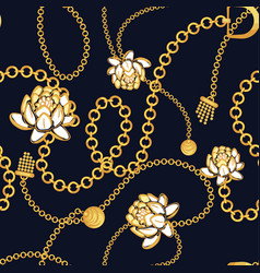 Golden chains bold floral blue pattern fashion vector