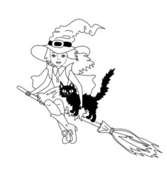 Halloween Black and White Witch vector image