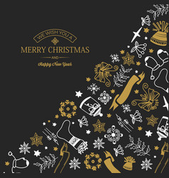 hand drawn christmas greeting template vector image