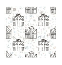 Hand drawn gifts with bows in cartoon style vector image