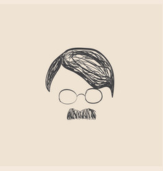 Human hair and mustache sketch vector