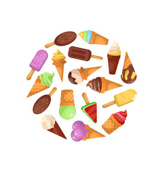 ice cream in waffles cone round composition vector image