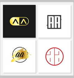 initial letter aa logo template design vector image