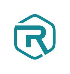 initial r hexagon logo vector image