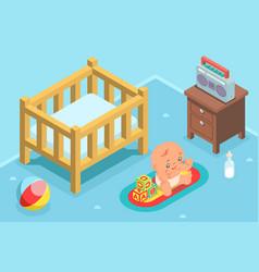 Isometric cute kid child nursery room flat design vector
