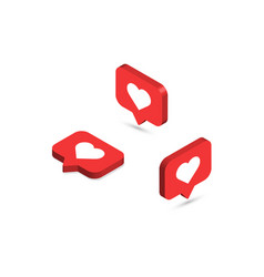 isometric like icons social media notifications vector image