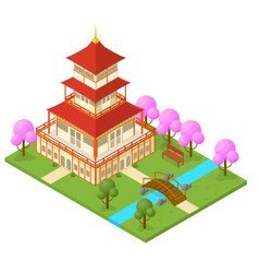 Japanese temple isometric view vector