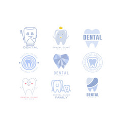Kids dental clinic and dentist cabinet set of vector