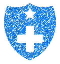 Medical insurance shield grunge icon vector