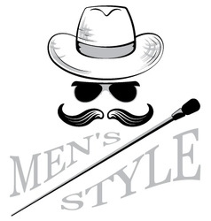 mens sunglasses hat and cane vector image