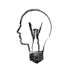 Monochrome sketch with light bulb with glass in vector