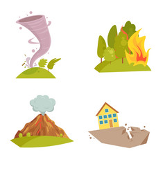 natural cataclysm icons set tsunami wave tornado vector image