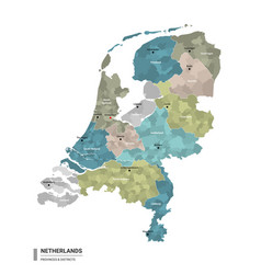 Netherlands higt detailed map with subdivisions vector