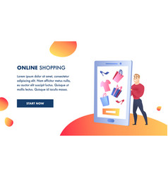 online shopping website flat color template vector image