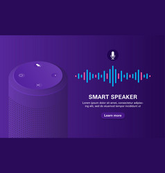 Portable speaker with voice assistant on purple vector