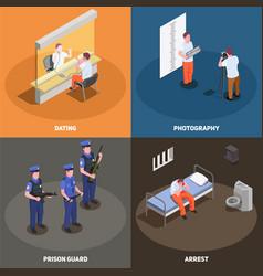 prison jail isometric concept vector image