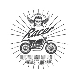 Racer vintage print with motorcycle wings and vector