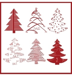 red decorative fir trees on a white background vector image