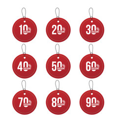 red paper sale percent tags set of labels vector image