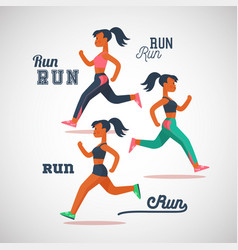 running girls marathon cartoon flat characters vector image