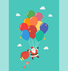 santa claus hanging on balloon vector image