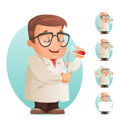 scientist with test-tube icon retro 3d cartoon vector image