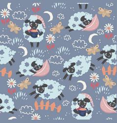 Seamless pattern cute sleepy lambs vector