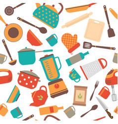 seamless pattern of kitchen utensils home vector image