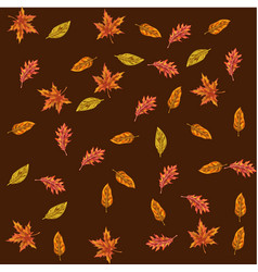 seamless pattern with autumn leaves different vector image