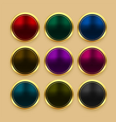 set color metallic golden buttons vector image