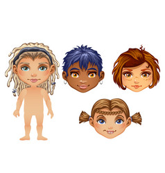 Set of drawn animated children isolated on white vector