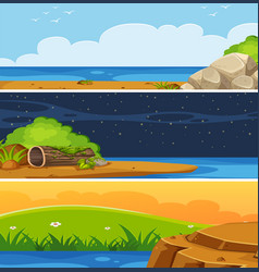 set of flat landscape vector image