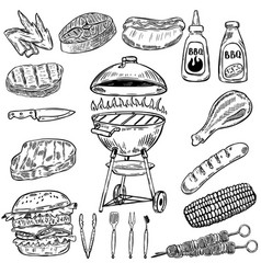 Set of hand drawn grill and bbq design elements vector