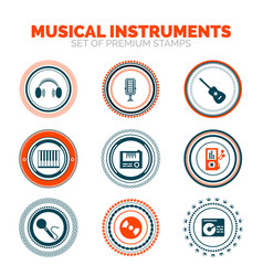 set of musical instruments premium stamps vector image vector image