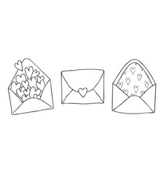 set of three doodle drawing love letter with vector image