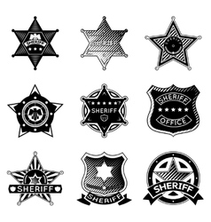 set sheriff or marshal badges and stars vector image