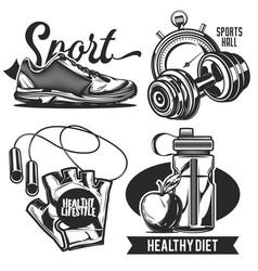 set sport emblems labels badges logos vector image